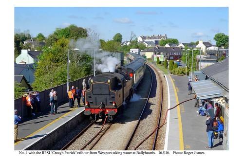 Ballyhaunis. No. 4 & RPSI 'Croagh Patrick' railtour from Westport. 16.5.16