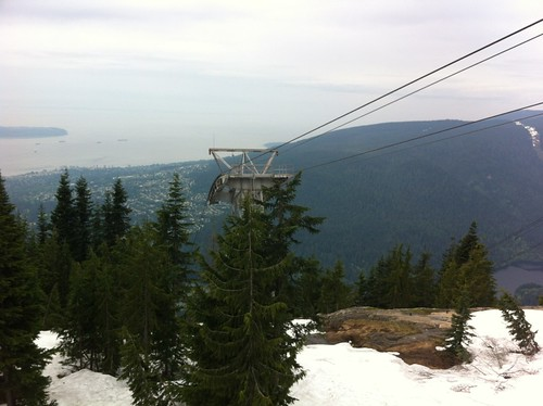 Gondola at Grouse Mountain with West Vancouver in the distance below