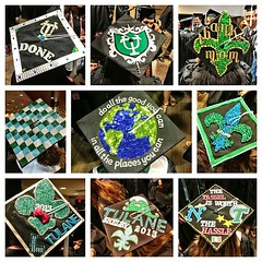 decorated caps from commencement! #tulane