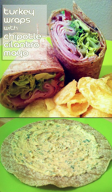 Turkey Wraps with Chipotle-Cilantro Mayo