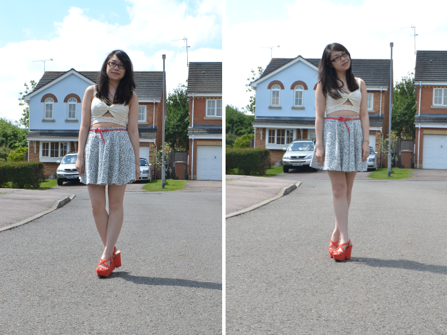 Daisybutter - UK Style and Fashion Blog: what i wore, ootd, Miss Selfridge Jacquard skater skirt, cut out lace bralet