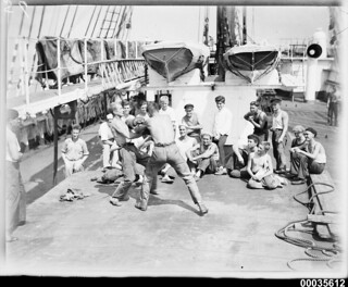 Crew of the four-masted steel barque MAGDALENE VINNEN in a boxing match