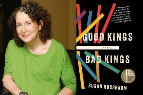 A photo of Susan Nussbaum, who is white, smiling, and has curly hair, and the cover of her book Good Kings Bad Kings.