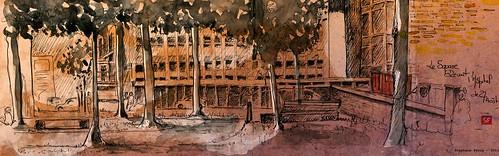Le square devant l'hôpital de Cahors by Stéphane Feray