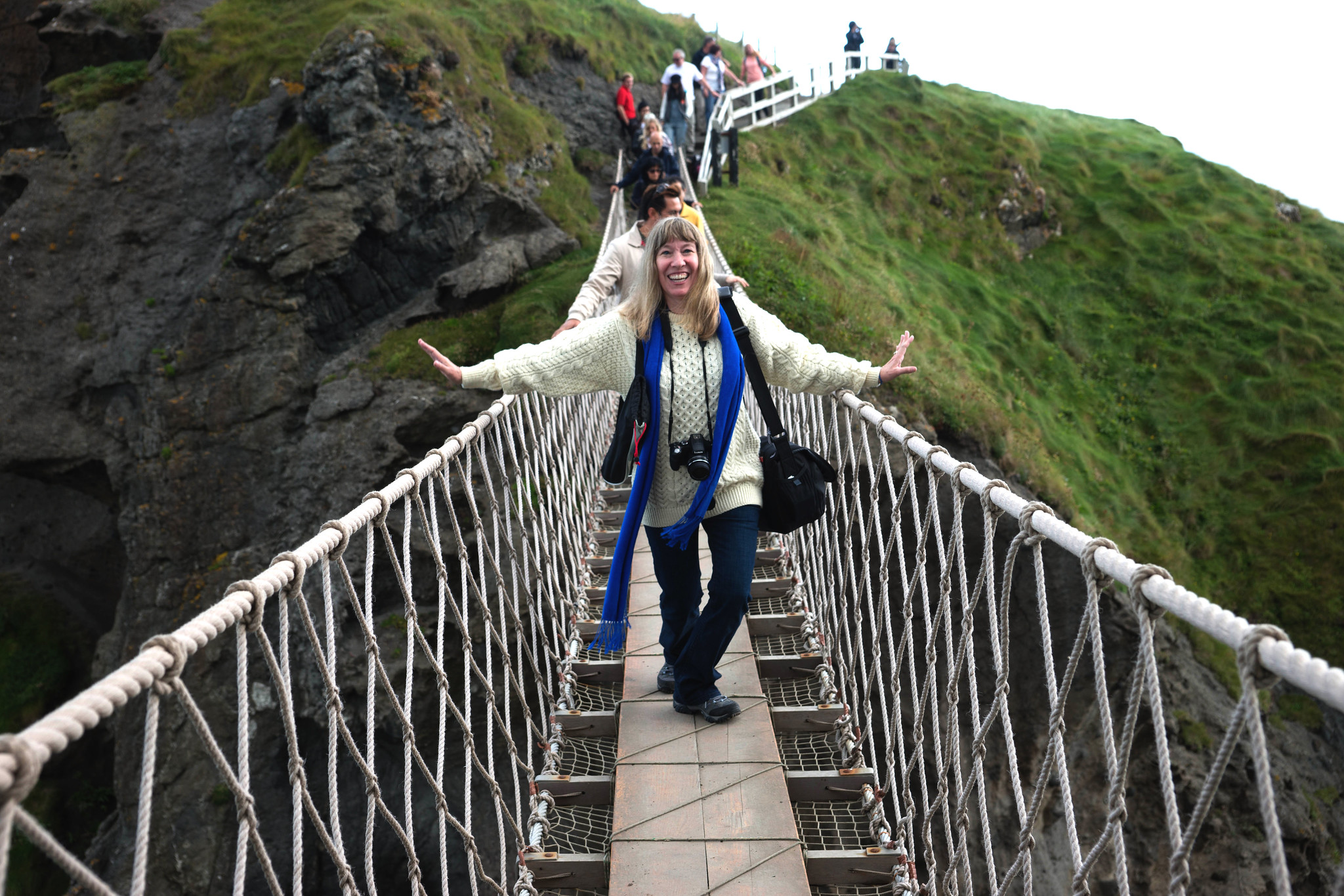 A Terrified Cynthia on The Carrick-a-Rede Rope Bridge