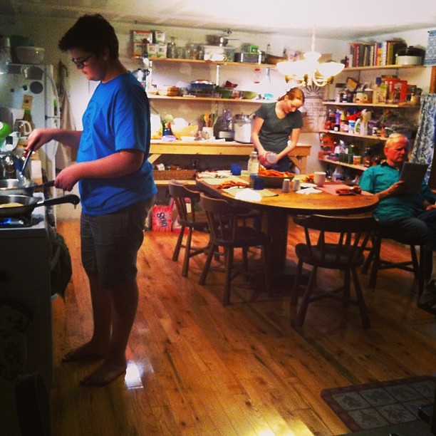 My teens rescued me tonight, and they are cooking dinner - comfort lentil soup and grilled cheese. #unschooling #love #fromourkitchen