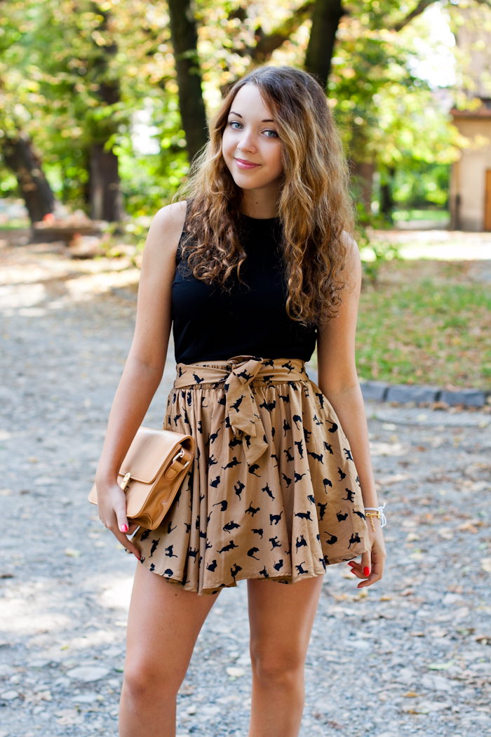 skirt with black cats