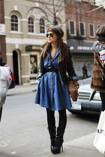Miroslava Duma Denim Dress Celebrity Style Women's Fashion