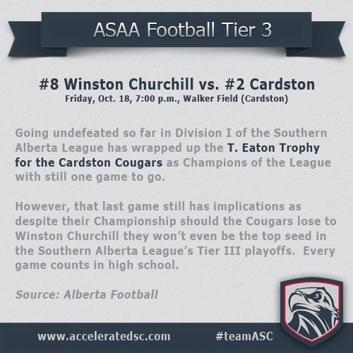 Alberta Football has dubbed tonight's matchup between #8 Winston Churchill and #2 Cardston Cougars h