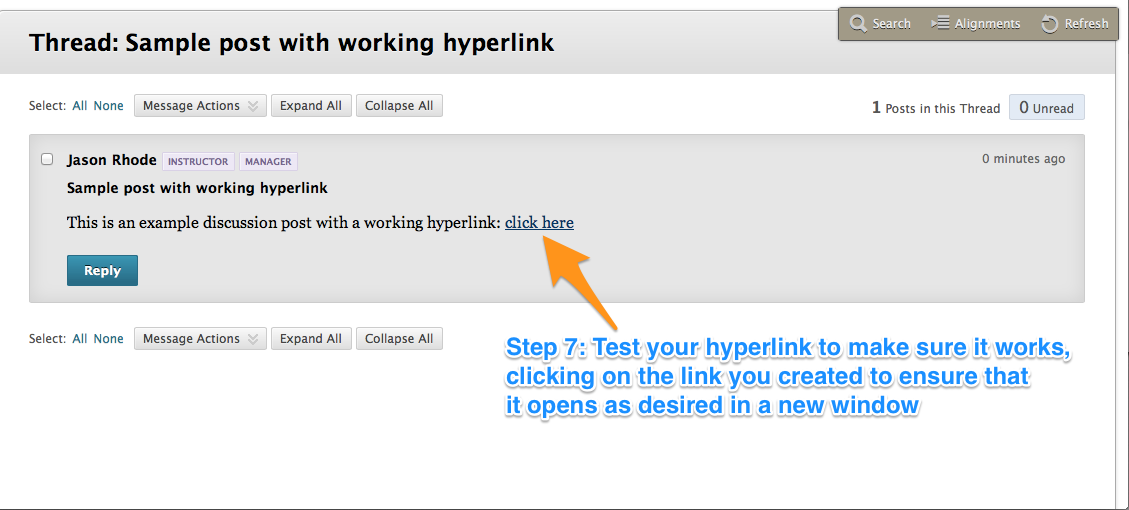 How to post a working hyperlink to a Blackboard discussion, blog, or