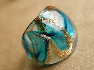 Glass ring. Murano glass - blue and gold