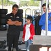 Juan Pablo Montoya and his son, Sebastian, watch the Team Penske crew go to work during testing at Sebring