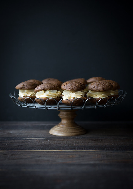 Gingerbread Whoopie Pies with Maple Poached Pears and Maple Buttercream www.pineappleandcoconut.com #Christmasweek