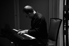 musician, pianist, piano, music, jazz pianist, monochrome photography, monochrome, black-and-white, person, black, sitting,
