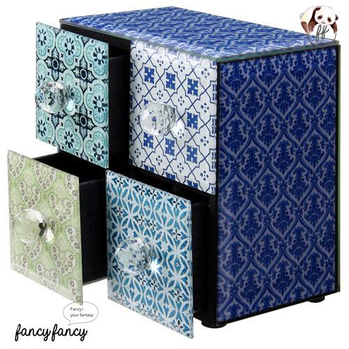 65.殖民風圖騰飾品收納盒-藍紫色2