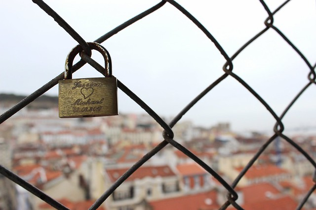 padlock in lisbon tower