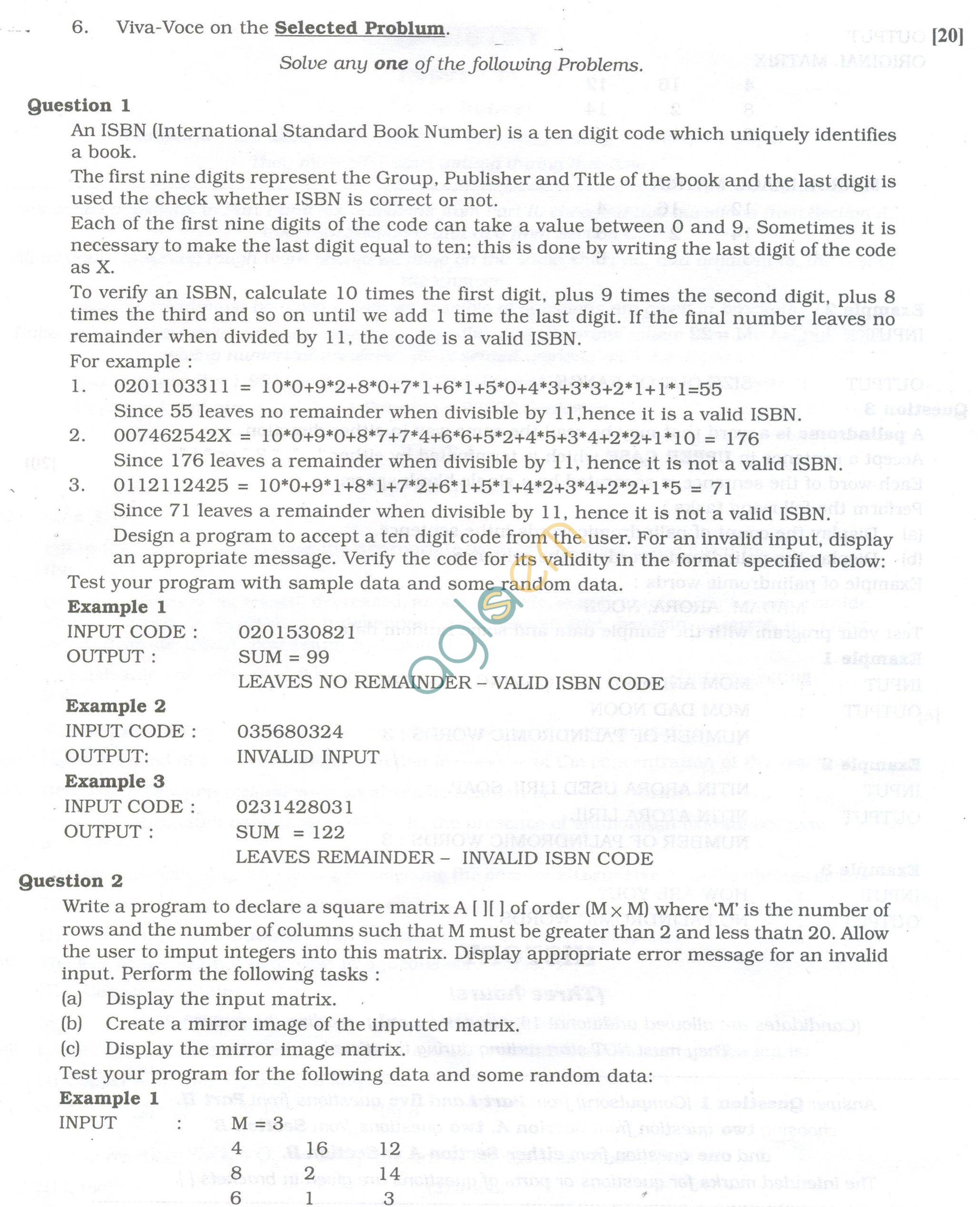 ISC Question Papers 2013 for Class 12 -Computer Science Practical
