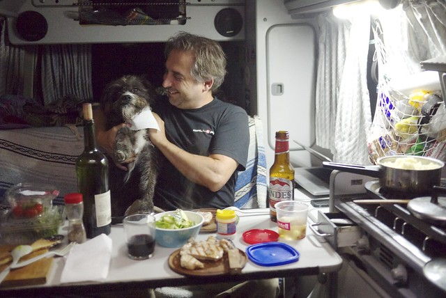 Dinnertime in the van with my boys