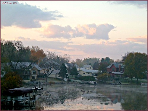autumn trees houses nature water wisconsin clouds sunrise river pastel channel waterscene foxlake picmonkey:app=editor