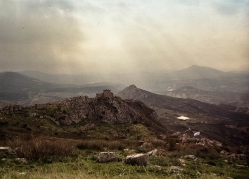 light sky cliff mist mountain tower castle grass fog stone skyline architecture clouds skyscape landscape rocks cloudy citadel hill corinth greece disposablecamera acropolis sunbeams greekflag peloponnese acrocorinth