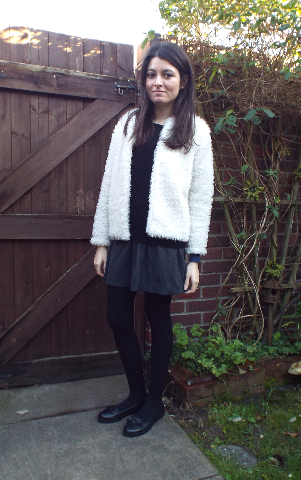 fluffy white fur coat leather loafers collar jumper