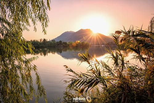 china trees sunset lake mountains nature water landscape nikon warm hangzhou tranquil hdr zhejiang xianghu photonmix