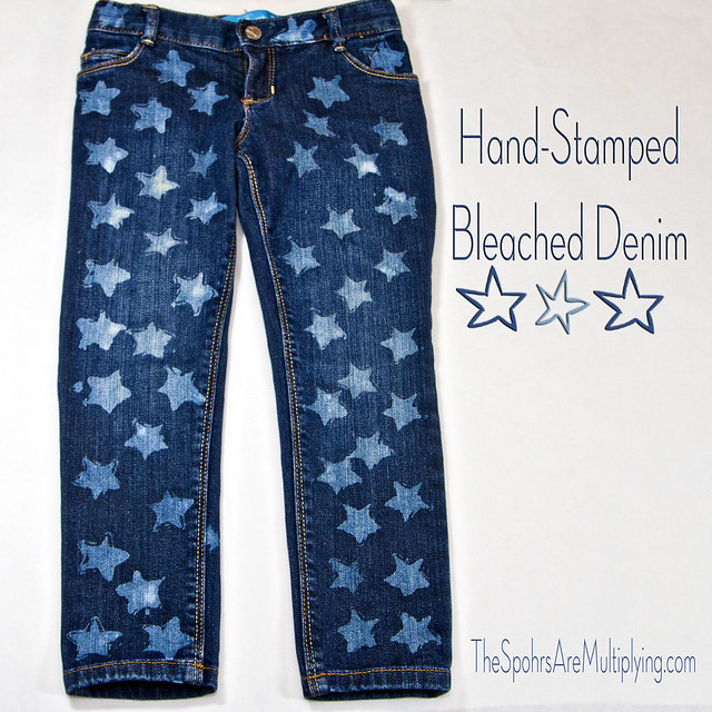 Hand-Stamped Bleached Denim