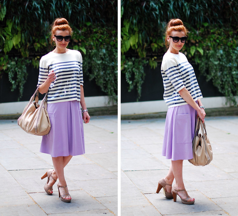 Styling a French style sequinned stripe sailor top