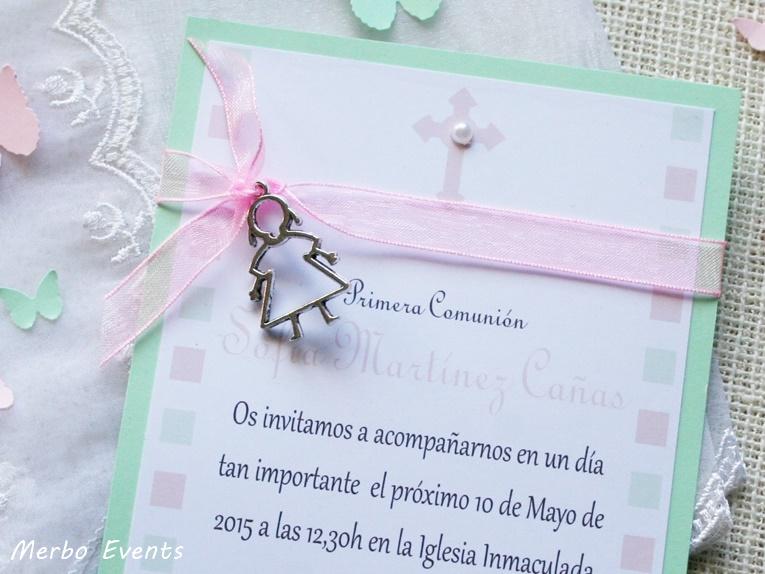 Conjunto Mint Invitaciones y punto de libro Colección Comuniones Niñas Merbo Events