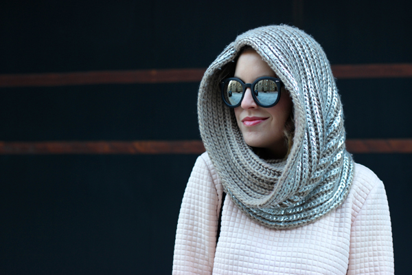 Metallic infinity scarf, how to wear a head scarf