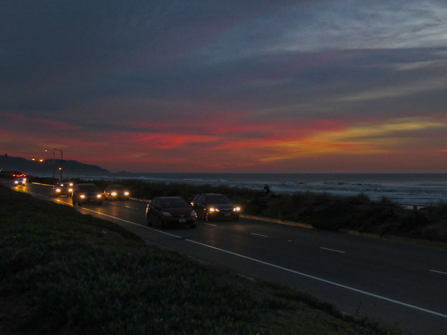 Sunset at Ocean Beach, San Francisco POV Great Highway (2015)