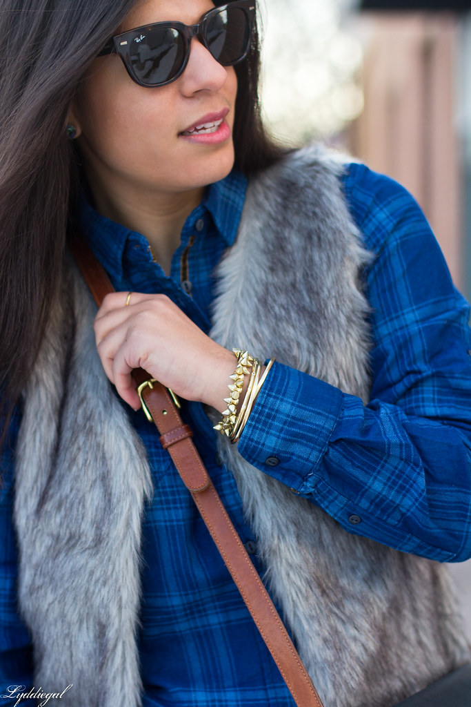blue plaid shirt, fur vest, coach bag-4.jpg