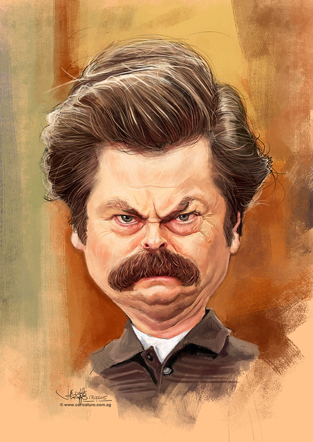 digital Nick Offerman caricature
