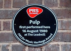 Photo of Pulp and Jarvis Cocker black plaque