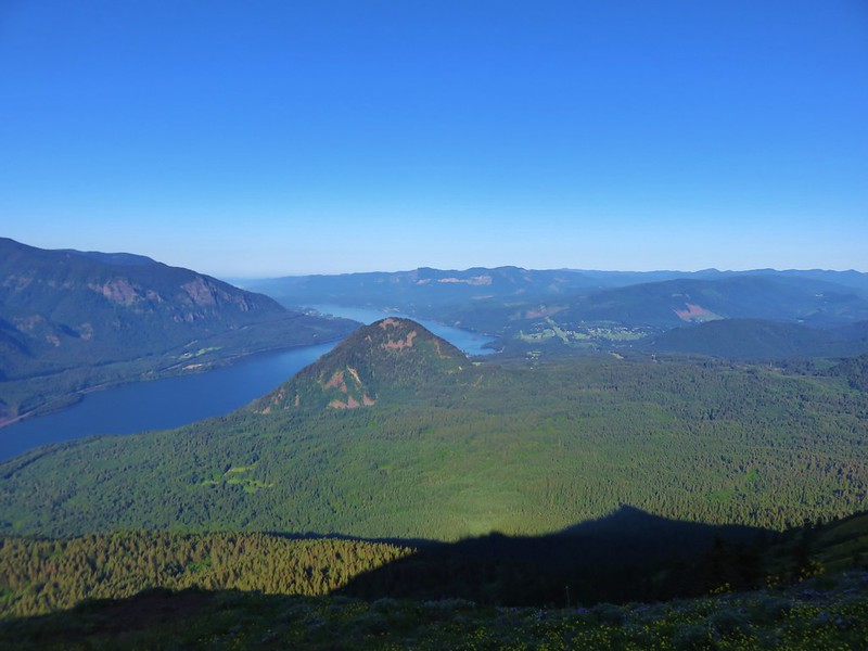 Wind Mountain and the Columbia River from the top of the upper meadow