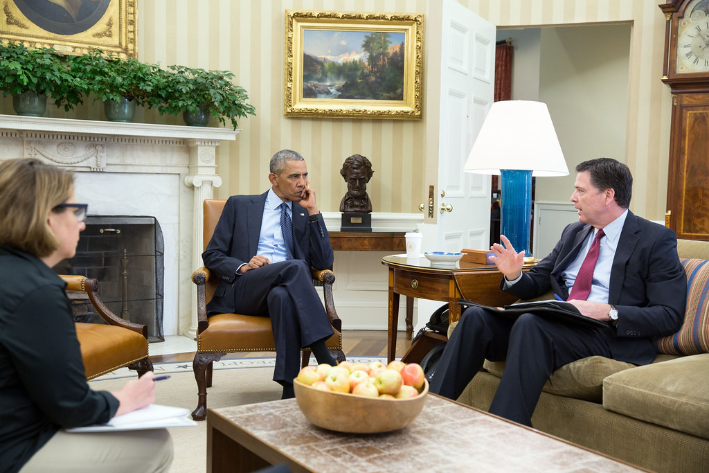 <p>President Barack Obama receives an update in the Oval Office from FBI Director James Comey and Homeland Security Advisor Lisa Monaco on the mass shooting in Orlando, Fla., June 12, 2016. Also attending the meeting were Chief of Staff Denis McDonough, National Security Advisor Susan E. Rice and Deputy National Security Advisor Ben Rhodes. <br /> (Official White House Photo by Pete Souza)<br /> <br /> This official White House photograph is being made available only for publication by news organizations and/or for personal use printing by the subject(s) of the photograph. The photograph may not be manipulated in any way and may not be used in commercial or political materials, advertisements, emails, products, promotions that in any way suggests approval or endorsement of the President, the First Family, or the White House.</p>