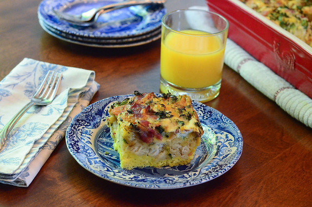 A serving of Easy Broccoli Bacon Breakfast Bake.