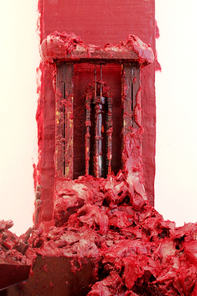 Stack, 2007, Forklift truck, wax and oil-based paint