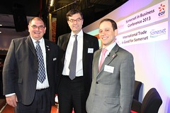 Rupert Cox (CEO Somerset Chamber of Commerce - L), Nick Baird (CEO UKTI) and Dr Adam Marshall (Director of Policy & External Affairs, BCC)
