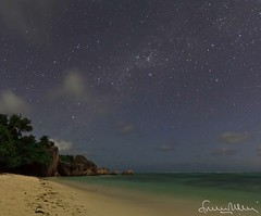 Anse Source d'Argent under a starry sky - La Digue Seychelles