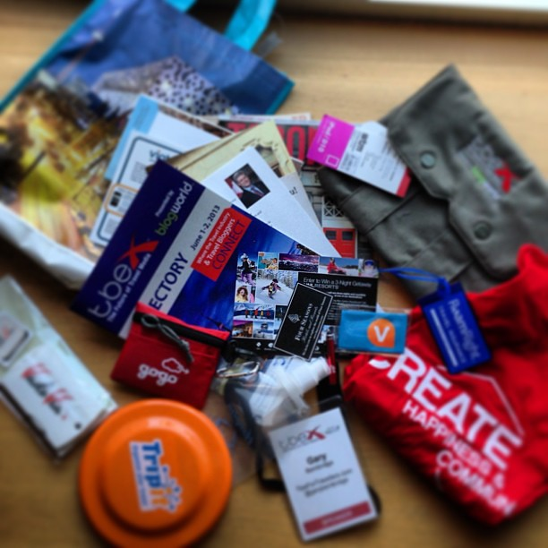 #tbex goodie bag. Lots of fun bits & pieces. Cool iPad bag as a Speaker Gift too!