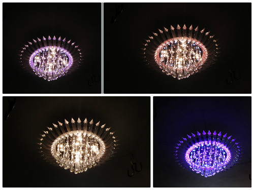 Color changing ceiling lamp, collage