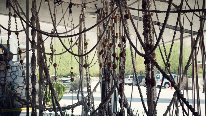 Rope instalation in window at Ace Hotel Palm Springs