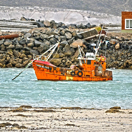 Caleta Cordova #boat #sea #fisherman #orange #argentina #patagonia