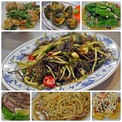 香炒海瓜子, 生猛活海膽, 香魚炒山蘇, 涼拌海菜, 美味牛小排, 炒麵 & 鳳梨蝦球