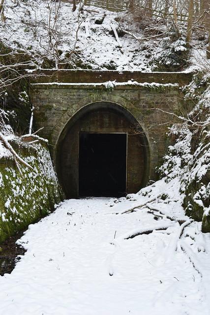 Neidpath Tunnel east portal in the snow