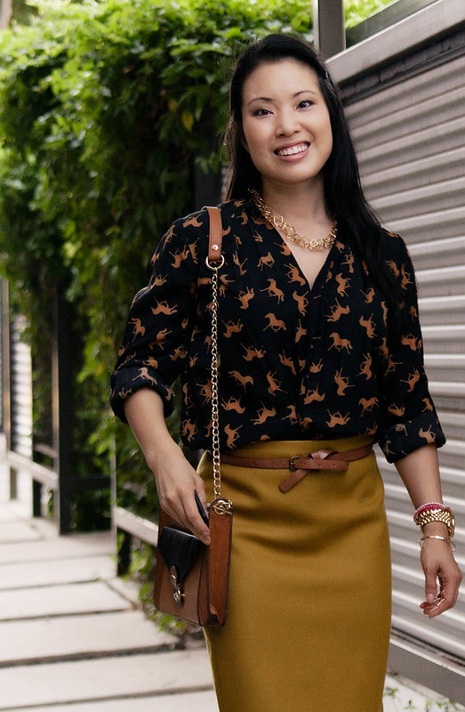 forever 21 horse print shirt jcrew no. 2 mustard pencil skirt aldo cognac peep toe pumps mk5556 michael kors lexington
