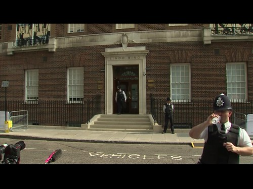 Screenshots of Royal Baby cam (yes, people are watching Bobbies standing near a door)