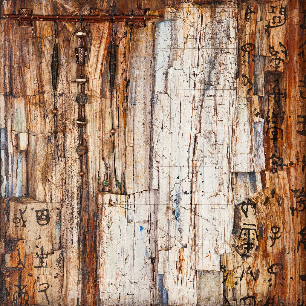 18 x 18 mixed media inspired by a log in the Petrified National Forest (Sold)