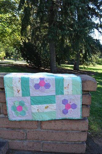 baby girl quilt with english paper piecing and posy fabric